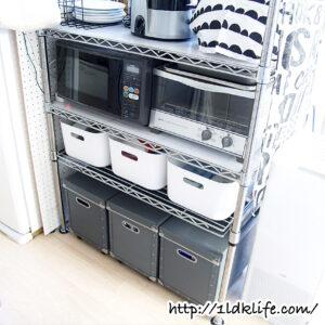 キッチンカウンターの収納。