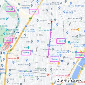 かっぱ橋道具街付近の地図。