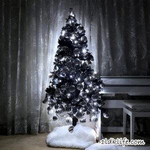 我が家のモノトーンクリスマスツリー2020_夜