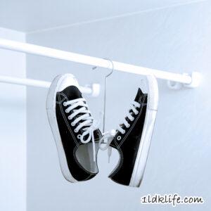 セリアの靴用ハンガー使用例。